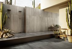 "WALL // Iris Ceramica Diesel Arizona Concrete Steel 24"" x 48"" FLOOR // Iris Ceramica Diesel Arizona Concrete Anthracite 24"" x 24"""