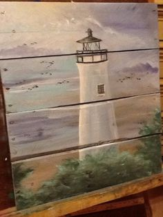 Ocean beach scape pallet art sign nautical by SoulSisterPalletShop Pallet Art, Pallet Painting, Tole Painting, Painting On Wood, Wood Paintings, Pallet Wood, Pallet Ideas, Barn Wood, Lighthouse Painting