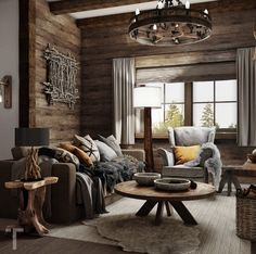 Cabin Chic, Cozy Cabin, Wood Table Rustic, Rustic Interiors, Dark Wood, Living Room Decor, Floor Plans, Interior Design, House