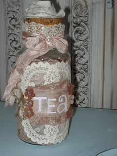 Mixed Media Altered art Romantic Vintage Bottle Tea by Fannypippin,