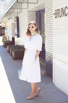 Emilee Anne wearing Gap Dress // Christian Louboutin Kitten Heels // Kate Spade Purse // Hermes Scarf // Celine Sunglasses