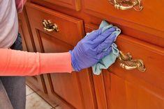 donna pulisce mobili