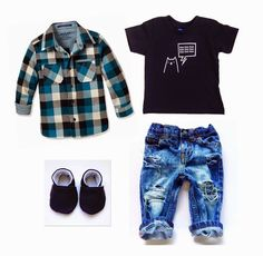 Plaid Shirt - RUUM American Kids Wear Tee - Taylor Joelle Jeans - Dudley Denim Shoes - Potato Feet