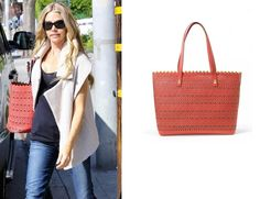 Wow! Denise Richard's really finishes her weekend look with the gorgeous Avalon Tote in Geranium! #StelladotStyle