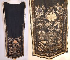 Antique Chinese Silk Forbidden Stitch Gold Couching Embroidery Tunic Tabard Dress This antique Chinese silk forbidden stitch gold couching embroidery tunic tabard dress dates from the 1920s. It is made of a late 19th century Qing Dynasty Han wedding skirt fabric apron panels and remade into a 1920s flapper tunic tabard style dress.