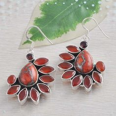 925 SOLID STERLING SILVER COPPER TURQUOISE EARRING 14.92g DJER1351 #Handmade #Earring
