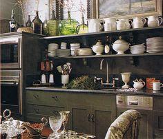 {Jackye Lanham Interior Design} heirloom philosophy: The Heart of the Home: Kitchen Time Green Kitchen Cabinets, Upper Cabinets, Kitchen Shelves, Cupboards, Kitchen Display, Shelf Display, Dark Cabinets, Kitchen Time, Kitchen Dining