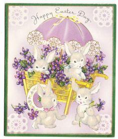Vintage Grey Flocked Rabbits in Violet Cart Easter Greeting Card | eBay