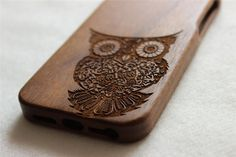 iphone 5s case Wood iphone 5 case Engraved owl wood by Janecases