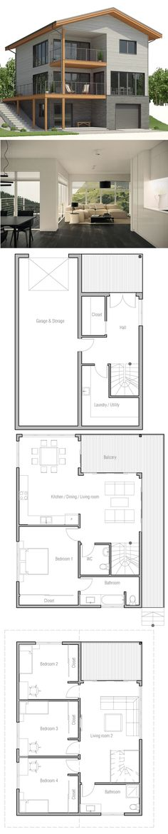 Modern Villa House Plans & Interior Architecture Design Concept-M 210 - jewel. Modern House Plans, Small House Plans, Modern House Design, House Floor Plans, Architecture Design Concept, Casa Top, Old Country Houses, Casa Patio, Home Design Plans