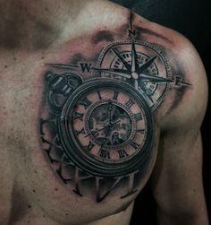 Chest Tattoo Clock, Clock Tattoo Sleeve, Chest Tattoo Quotes, Tattoo Sleeve Designs, Tattoo Designs Men, Pirate Compass Tattoo, Compass And Map Tattoo, Twin Tattoos, Body Art Tattoos