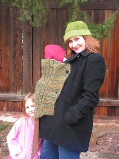 babywearing knitted sweater!  fun knitting project for new moms