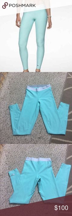 Nike pro Tiffany blue leggings Nike pro tights/leggings. Rare Tiffany blue color with silver swoosh. Condition as pictured -- minimal pilling. 🎀will only negotiate through the offer button🎀🚫rude comments will get you blocked🚫NOTE: I can only ship on weekends Nike Pants Leggings