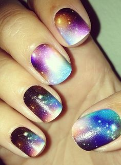 Get the look for these gorgeous galaxy nails!