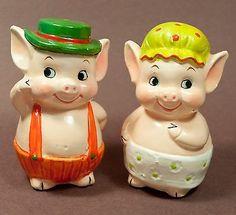 vintage ceramic BOY & GIRL PIGS salt & pepper shakers CUTE COUPLE 3
