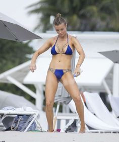 Joanna Krupa in blue bikini. hot polis celebrity and top model at beach