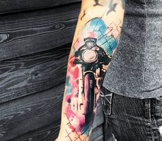 Motorcyclist tattoo by Kenlar Tattoo