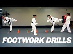 Taekwondo Footwork & Kicking Drills (using cones) - YouTube