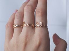 NAME RING - FONT F63 You can have your own name personalized on this ring.  * Maximum number of character: 7 * The name is 2.5mm-9mm high. *