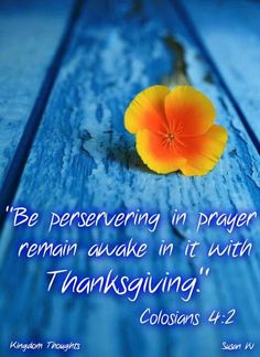 Colossians 4:2.  Persevere in prayer