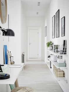 Hallway, String shelves