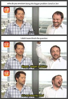 "ET interview with Misha Collins & Mark Sheppard about Supernatural S9 [gifset] - ""[about Misha directing an episode]"