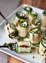 Zucchini rolls. Like how relaxed these look but use my own version.