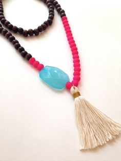 Tassel Necklace Large Cream Tassel Wrapped in by SiftwithStyle