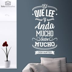 Vinilo decorativo tipográfico de una frase célebre de Miguel de Cervantes