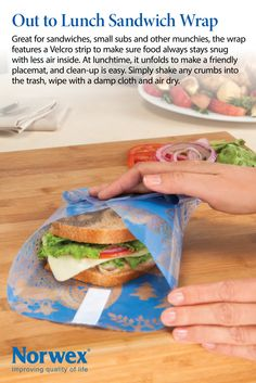 """Norwex Out To Lunch Reusable Sandwich Wrap - Great for sandwiches, small subs and other munchies, the wrap features a Velcro strip to make sure food always stays snug with less air inside. At lunchtime, it unfolds to make a friendly place mat, and clean-up is easy. Simply shake any crumbs into the trash, wipe with a damp cloth and air dry. Size: 43cm x 43cm / 17"""" x 17"""" Item# 358000"""
