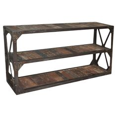Reclaimed wood plank console table with three tiers and an open X-sided iron frame.