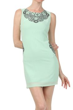 A sleeveless Printed bodycon dress with a back zipper enclosure