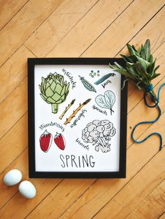 NEW Spring // What's In Season 8x10 by yoursistheearthshop on Etsy, $18.00