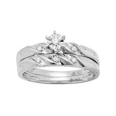 10k White Gold Diamond Accent Engagement Ring Set, Women's, Size: 7