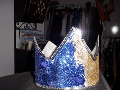 fabric ribbonmixed media crown , paper , glitter and