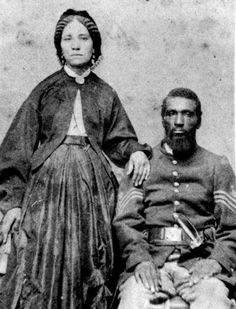 "Martha Bush Gray and Husband. Sgt. Gray. Gray was a Sgt with the 54 Mass during the Civil War and was wounded during the famous 54 charge of Fort Sumter. The charge that was depicted in the movie ""Glory"" staring Denzel Washington.Martha Bush along with a Black Civil War nurse Susie King Taylor worked with the founder of the Red Cross Clara Barton treating the wounded in a near by hospital following the battle.Unfortunately Sgt Gray died from his wounds. Source: Vint. African American… Black History, Art History, Clara Barton, Fort Sumter, Old Images, Denzel Washington, African American Art, African History, Red Cross"