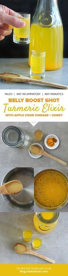 Antioxidant-rich turmeric combines with the probiotic benefits of raw apple cider vinegar for a quick shot that washes away parasites and fights digestive ailments. Get the recipe here: http://paleo.co/bellyboostshot