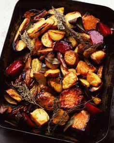 Roasted vegetables are hands down one of the best things to cook. They rival the best pastas and steaks, no question, because of the sweet-and-savory caramelization that works its magic in the oven. Plus, they're easy to make and good for you. Best Roasted Vegetables, Roasted Vegetable Recipes, Root Veggies, Veggie Recipes, Cooking Recipes, Healthy Recipes, How To Roast Vegetables, Roasted Vegetables Thanksgiving, Oven Roasted Root Vegetables