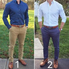 Two smart casual looks from @chrismehan 1 or 2?  Pages to upgrade your style  @stylishmanmag  @shopthatgrid