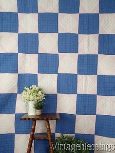 """Cottage Home Sweet Vintage 30s Blue White Pink QUILT 79"""" x 59"""""""