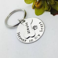 A personal favorite from my Etsy shop https://www.etsy.com/listing/533651116/pet-memorial-key-chain-hand-stamped