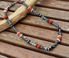 Mens Brown and Red Carved Bone and Clay Skater Necklace by DysfunctionDesigns, £10.00