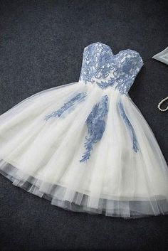 Strapless Sweetheart Appliques Tulle Homecoming Dresses,Ivory Hoco Dresses,Short Prom Dresses OK301