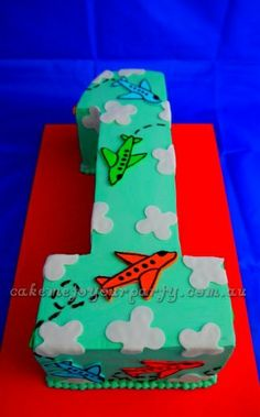 ideas to decorate cake with airplanes | Number 1 Airplane Cake