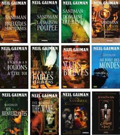 The covers of the Sandman graphic novels by Neil Gaiman
