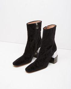 Maison Margiela Line 22 | Velvet Block Heel Ankle Boot | La Garçonne