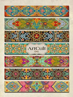 ART STRIPS No2 - Digital Collage Sheet for bracelets cuffs, bookmarks, borders, magnets, Printable 1x6 inch size images
