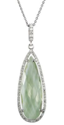 Sterling Silver 1/3 ct tw Genuine Green Quartz & Diamond Halo-Styled Pear-Shaped Pendant or Necklace.  If you love this check out Renaissance Fine Jewelry in Vermont.