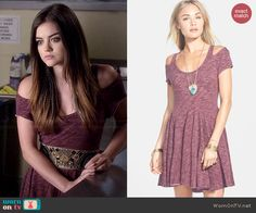 Aria's heathered pink cold shoulder dress on Pretty Little Liars.  Outfit Details: http://wornontv.net/43669/ #PLL