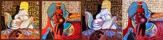 """From left to right: the opened booklet (including the front-cover on the right) of Miles Davis' """"Live-Evil"""" and Mati Klarwein's paintings """"Evil"""", and """"Live"""" (the one on the front cover)."""